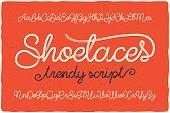 Trendy textured one line handwritten font script named