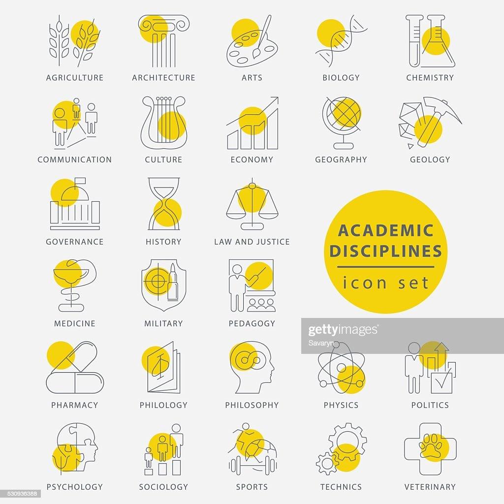 Trendy thin line academic disciplines isolated icon set
