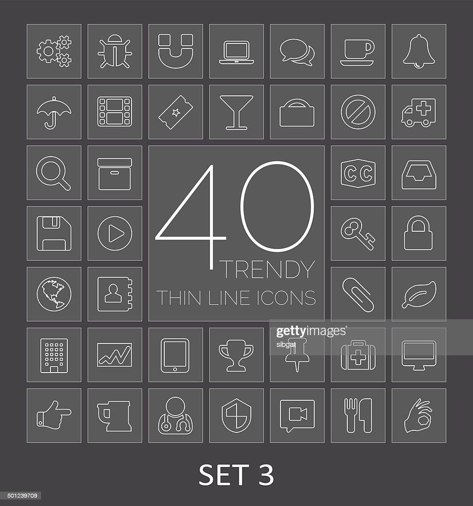40 Trendy Thin Line Icons. Set 3
