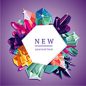 Trendy vector banner template. Frame is decorated with colored crystals.