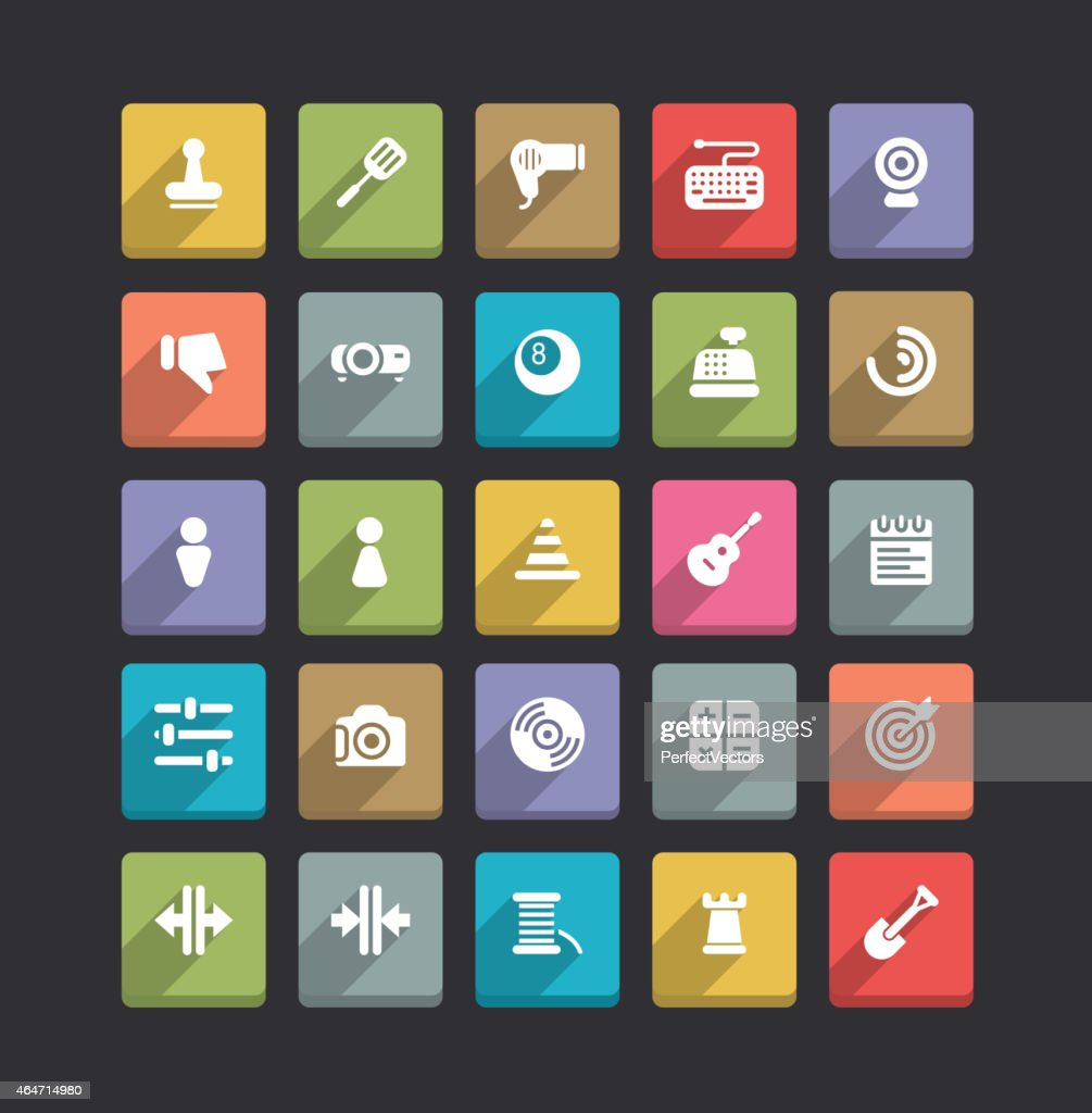 Trendy Vector Icons With Long Shadow Set 18
