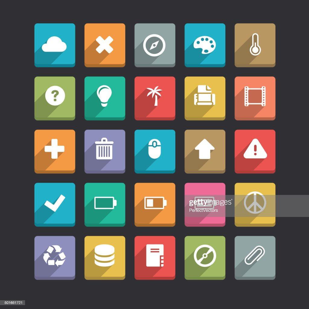 Trendy Vector Icons With Long Shadow Set 2