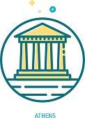 Trendy vector line Parthenon icon