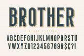 Trendy vintage display font design, alphabet, typeface