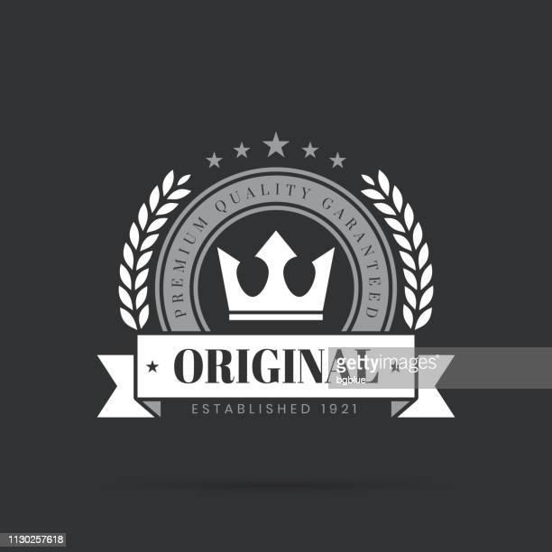 trendy white badge - original, premium quality guaranteed - laurel wreath stock illustrations