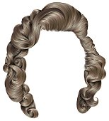 trendy woman hairs   blond colors . beauty fashion . retro style curls . realistic 3d .