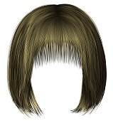 trendy  woman  hairs bob kare fringe   blond    . beauty style  3d .
