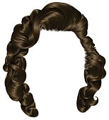 trendy woman hairs  brunette brown,  beauty fashion . retro style curls .