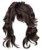 trendy woman long hairs brunette dark brown  colors .   beauty fashion .