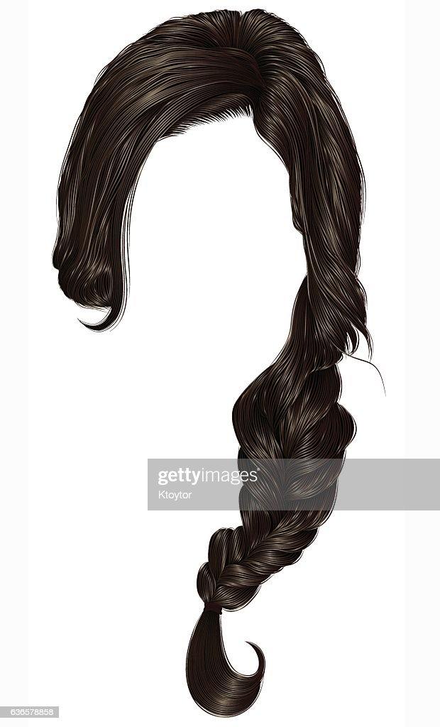 trendy women hairs  pigtail . braid plait .  fashion  style . realistic  3d .