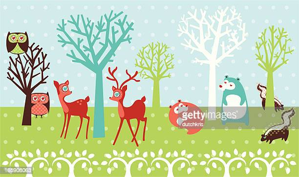 trendy woodland creatures in love - animal heart stock illustrations, clip art, cartoons, & icons