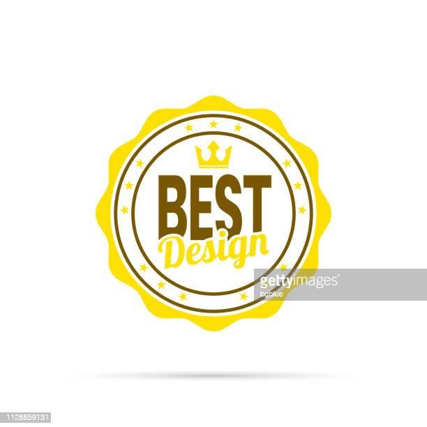 trendy yellow badge - best design - medallion stock illustrations, clip art, cartoons, & icons