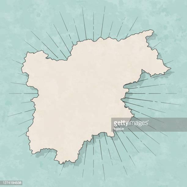 レトロなヴィンテージスタイルのトレンティーノ南チロルマップ - 古いテクスチャペーパー - トレンティーノ点のイラスト素材/クリップアート素材/マンガ素材/アイコン素材