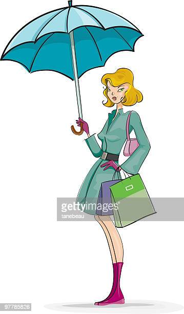 tres chic in a rainy day - três pessoas stock illustrations