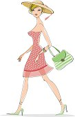Tres chic lady in pretty  summer dress
