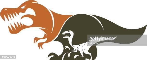 t-rex and velociraptor silhouette - bird of prey stock illustrations, clip art, cartoons, & icons