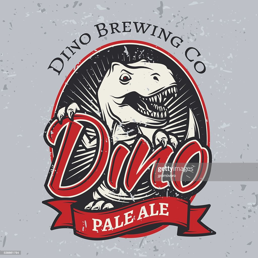 T-rex brewery insignia design. Pale ale label template. Vector