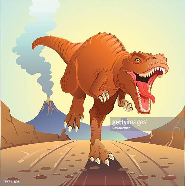 t-rex charging - volcano stock illustrations, clip art, cartoons, & icons