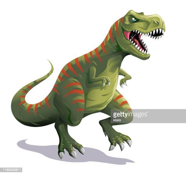 t-rex - cartoon characters with big teeth stock illustrations