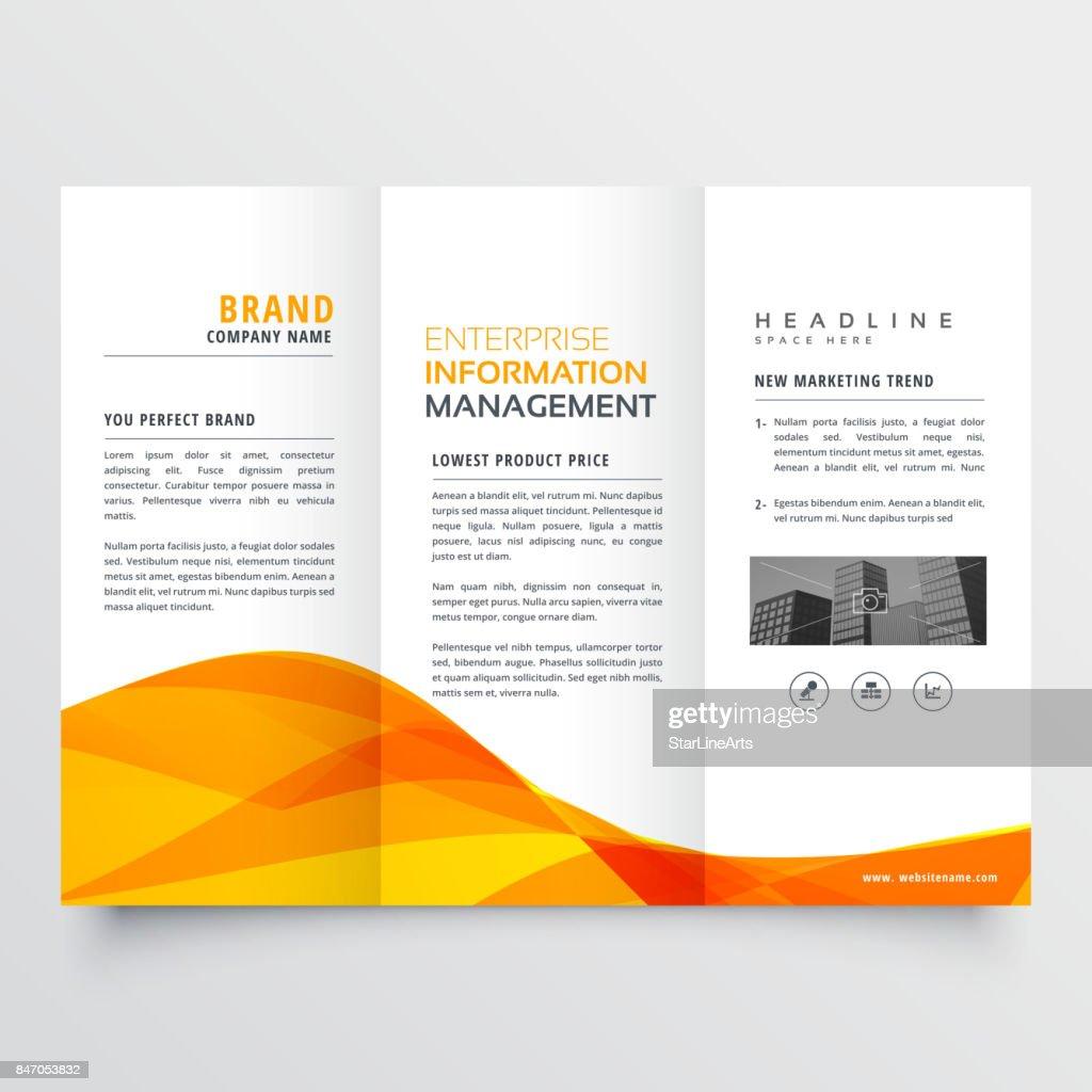 tri fold brochure design corporate business template with orange wavy shape