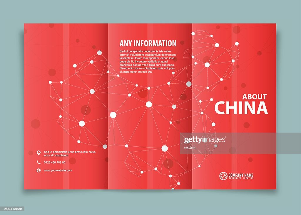 tri fold brochure design on china vector art getty images