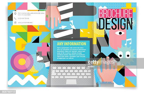 tri fold brochure design on tech - only japanese stock illustrations, clip art, cartoons, & icons