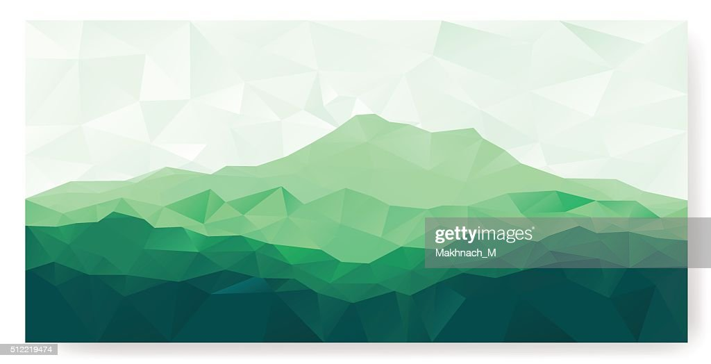 Triangle background with green mountain