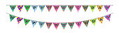 Triangle bunting flags with happy birthday text