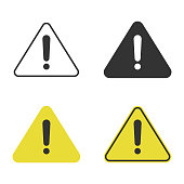 Triangle Caution and Warning Icon Set Vector Design.