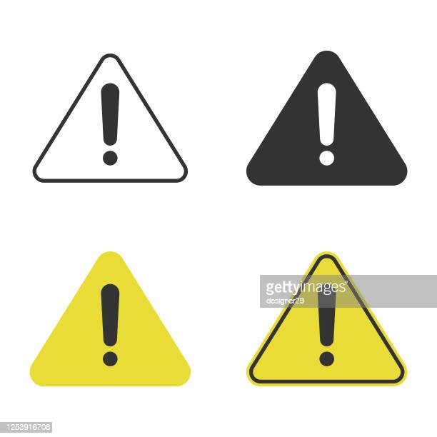 triangle caution and warning icon set vector design. - safety stock illustrations