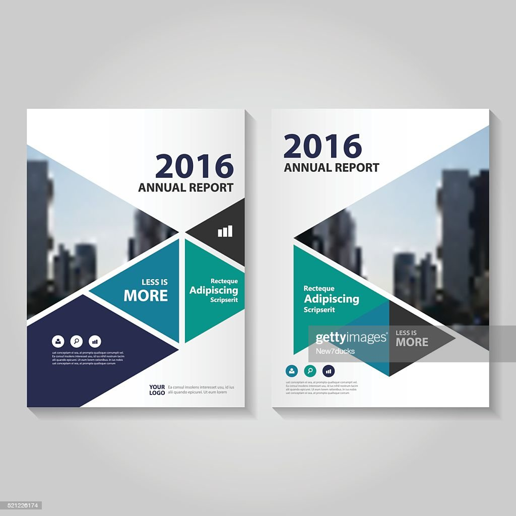 Triangle green blue Vector annual report Leaflet Brochure Flyer template