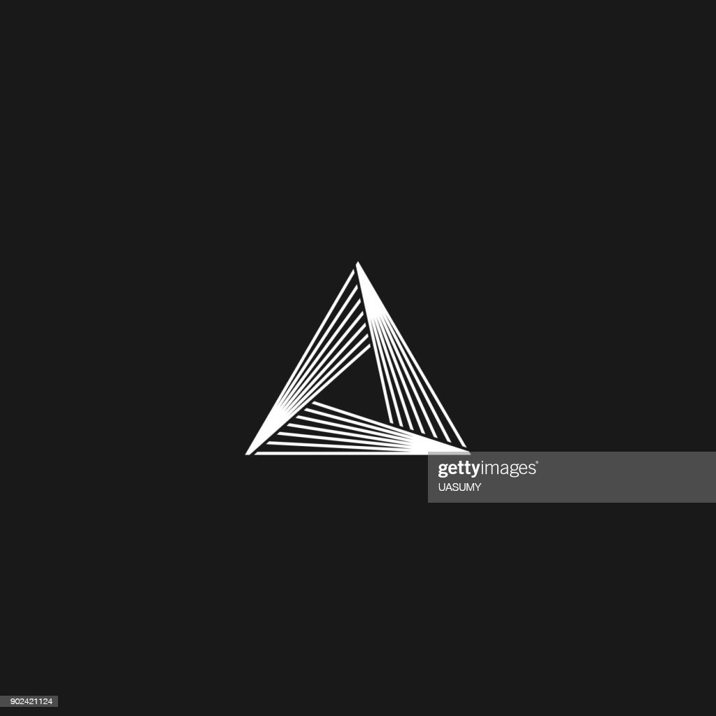 Triangle  linear infinity geometric pyramid shape, black and white overlapping thin lines hipster monogram minimal style infinite icon