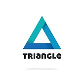 Triangle logo vector isolated, gradient abstract geometric figure logotype element