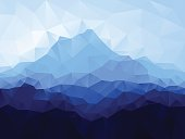Triangle low poly geometrical background with blue mountain