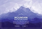 Triangle low poly landscape with blue mountains