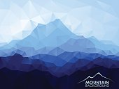 Triangle  low poly polygon geometrical background with blue mountain