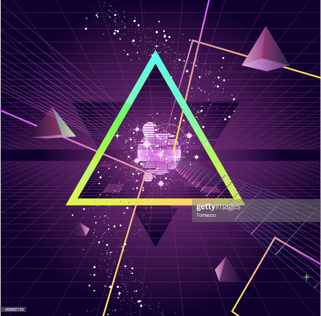 Triangle Pyramid futuristic Retro 80's Style Background