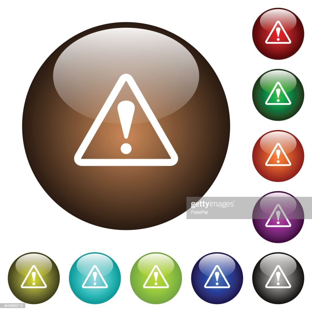 Triangle shaped warning sign color glass buttons