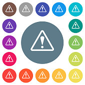 Triangle shaped warning sign flat white icons on round color backgrounds
