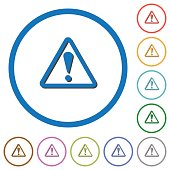 Triangle shaped warning sign icons with shadows and outlines