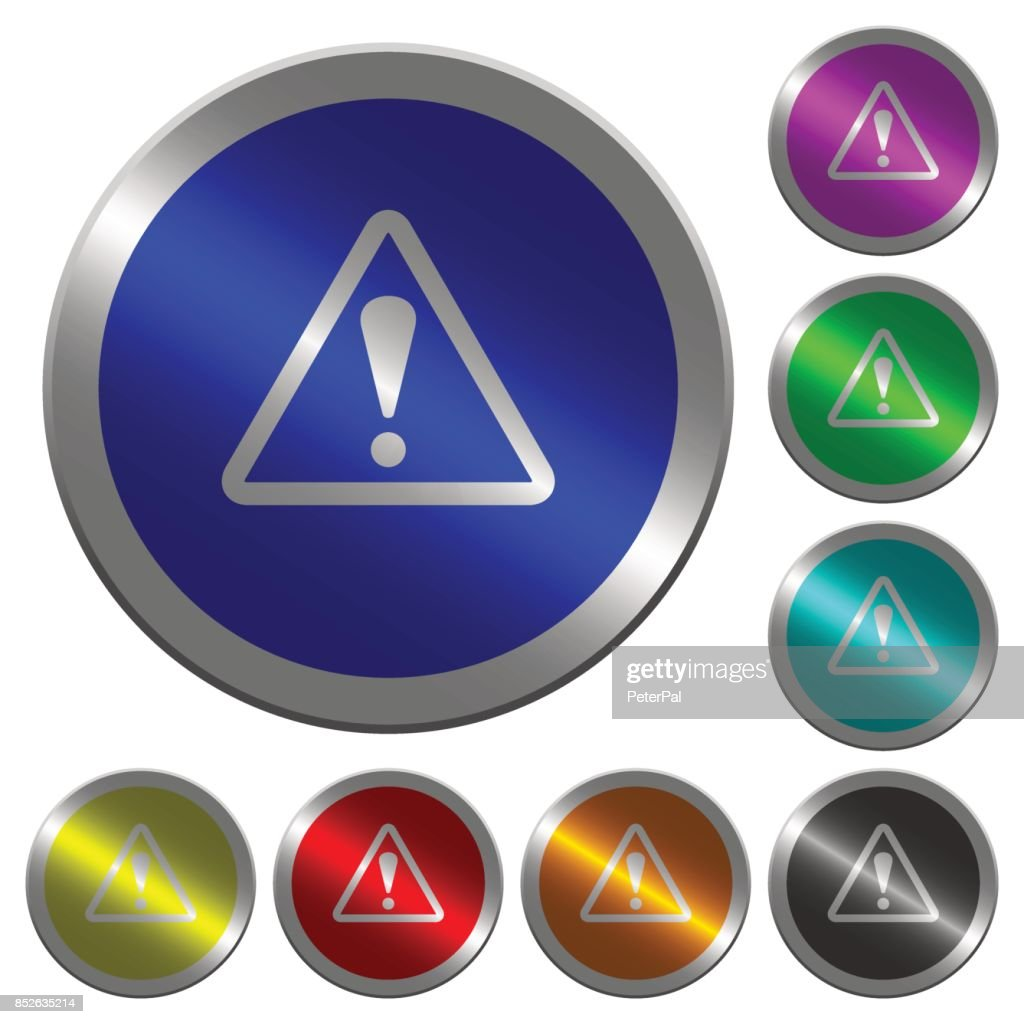 Triangle shaped warning sign luminous coin-like round color buttons