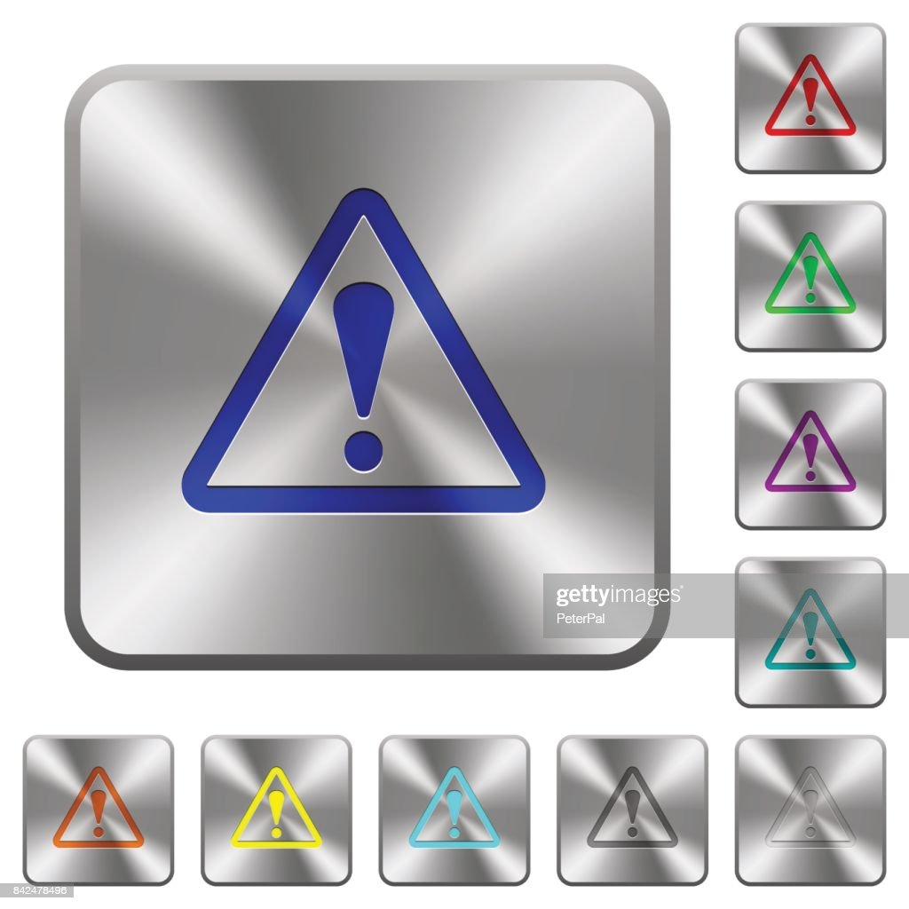 Triangle shaped warning sign rounded square steel buttons