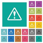 Triangle shaped warning sign square flat multi colored icons