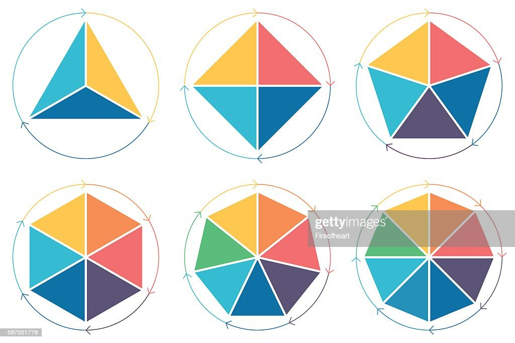 Triangle, square, pentagon, hexagon, heptagon, octagon for infographics.