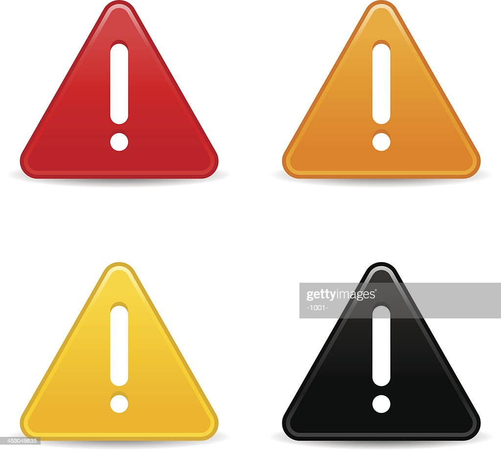 Triangle warning icon white exclamation mark sign web button