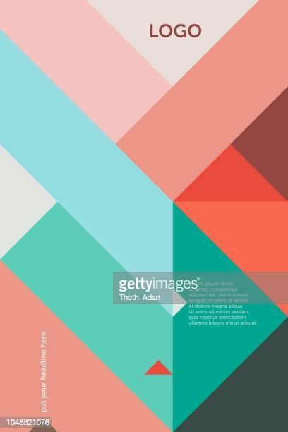 triangles 45 degree – cover design template 1 (geometric minimalism set) - triangle shape stock illustrations