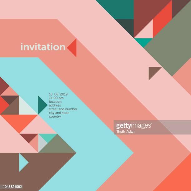 dreiecke 45° – einladung vorlage (geometrische minimalismus gesetzt) - großunternehmen stock-grafiken, -clipart, -cartoons und -symbole