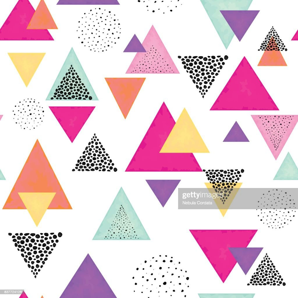 Triangles and Black Dots. Seamless Pattern