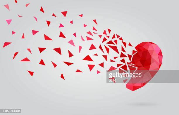 triangles forming a heart - broken heart stock illustrations