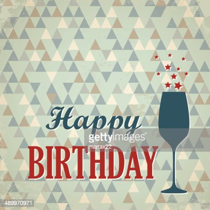 Triangular Happy Birthday Card With Wine Glass Vector Art Getty Images